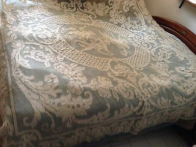 Gorgeous Vintage Handmade Filet Lace Tablecloth