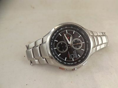 a stainless steel cased gents citizen eco drive chrono watch