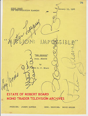 Martin Landau Mission Impossible Signed Script Cover Barbara Bain Peter Graves