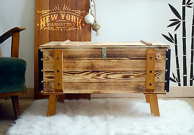 Vintage Wooden pine chest trunk blanket box rustic coffee table steamer burned