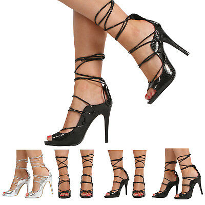 New Womens Ladies High Stiletto Heel Peep Toe Lace Up Sandal Shoes Size 3-8