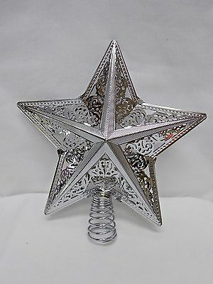 Silver Fancy Cut-out Star Christmas Tree Topper 8 inch Tall Fits Tree top