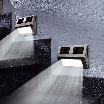Modern Outdoor Patio Decking Solar Lights Stainless Steel LED Step Wall Lights