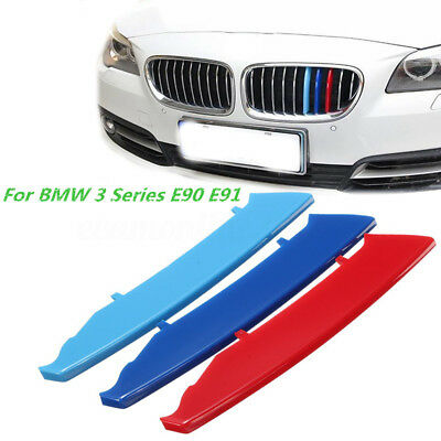 M Tri-Color Front Grille Kidney Cover Strip Clip Trim For BMW 3 Series E90 04-08