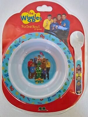 ~ Wiggles - BABY SUCTION BOWL DISH & SPOON DINNER FEEDING FOOD NON SPILL SLIP