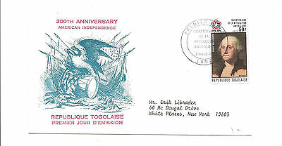 1076 Togo FDC to White Plains NY   American Independence