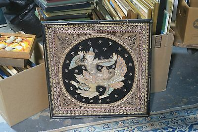 "Vintage Kalaga Myanmar Burma Hand Embroidered Tapestry Sequin Work 22"" Square"