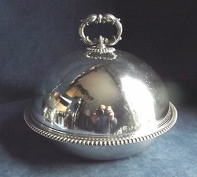 "SUPERB Large 10"" ~ SILVER Plated ~ SERVING Dish & COVER ~ c1900"