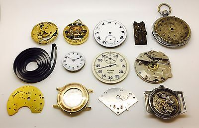 Job Lot of pocket watches Dials movements Steampunk spares repairs 169.28 Grams