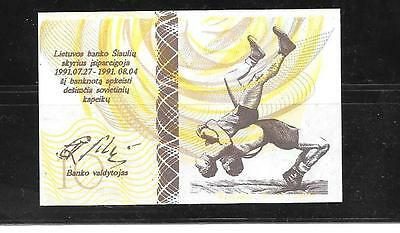 Lithuania OLYMPIC Banknote 1 Centauru WRESTLING 1991 UNC PAPER MONEY CURRENCY