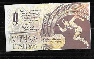 Lithuania Olympic Banknote 1991 1 Litauras Unc -Track Running Paper Money Note