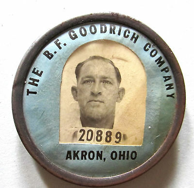 """Vintage B.f. Goodrich Tire Rubber Co Employee I.d. Picture Pin 1 7/8"""" Akron Oh"""