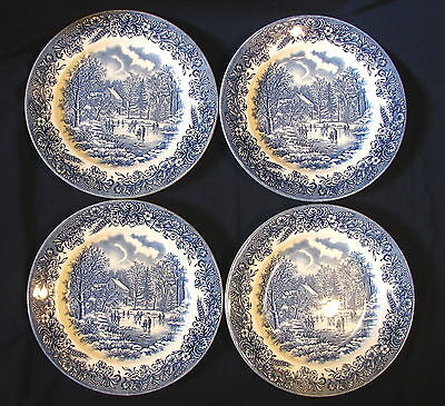 """Lot of 4 Churchill Staffordshire England Blue & White 8"""" Bread and Butter Plates"""