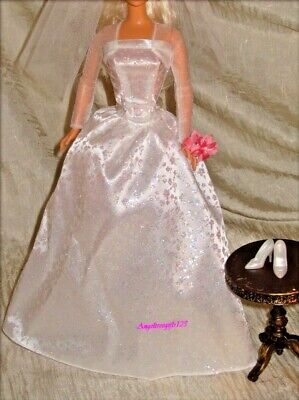 Beautiful white sparkle wedding dress fits silkstone royalty Barbie