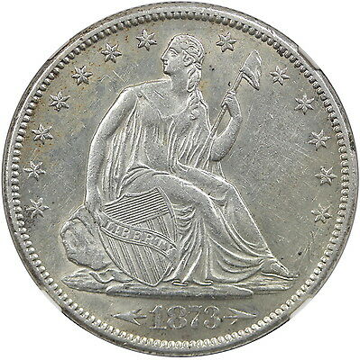 1873-S 50C, with Arrows, NGC AU55