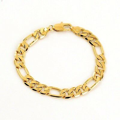 """Men's Bracelet 18k Yellow Gold Filled 8"""" Link Curb Chain Fashion Jewelry"""