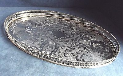 "SUPERB LARGE 17"" ~ SILVER Plated ~ GALLERY Tea / Drinks TRAY ~ c1920 ~ 45 x 29cm"