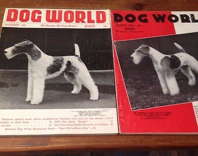 Vintage Dog Magazines with Wire Fox Terrier Dogs on Cover- Dog World 1949 + 1952