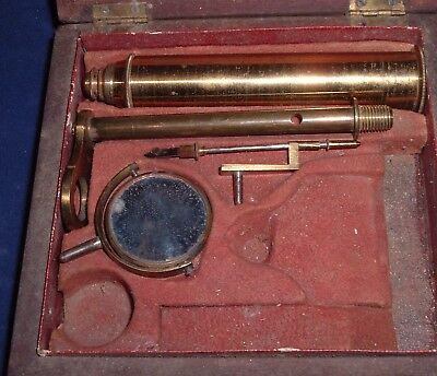 Antique Early 1800s Miniature Botanical Entomology Field Microscope in box as is