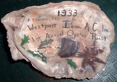 Unique Vintage 1933 hand painted Shell Westport Athletic Club Oyster Roast
