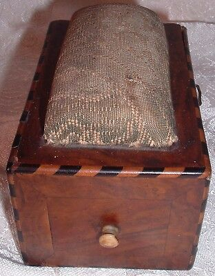 Antique Victorian Small Inlaid Burl Wood Sewing Box Pin Cushion w/ Drawer 1800s