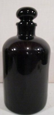 ANTIQUE 19th c Cranberry BLOWN GLASS Pharmaceutical ETCH #s BOTTLE W/ PONTIL