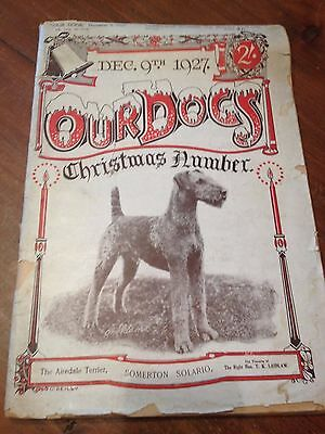 Vintage Dog Magazine - Our Dogs - 1927 Christmas Issue with Airedale Terrier