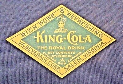 KING-COLA - early soda bottle paper label vintage 1915-1925 - SALEM, VA