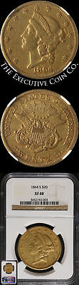 1864-S Liberty Gold $20 NGC XF40 Civil War Date Nice Strike