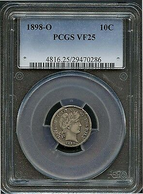 1898 O 10c VF 25 PCGS (VERY FINE) BARBER LIBERTY HEAD SILVER DIME