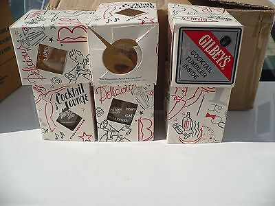 (6) 1993 Retro GIBLEY'S London Dry Gin COCKTAIL TUMBLERS Heavy PRINTED Glass NIB