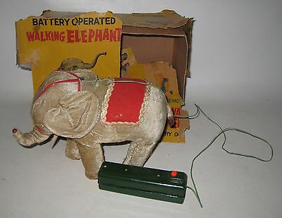 Vintage 1950s Linemar Battery Operated Walking Elephant w/ Box WORKS GREAT! HD50