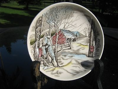 Country Barn  Made In England By Johnson Bros. Pin Dish  Winter Scene