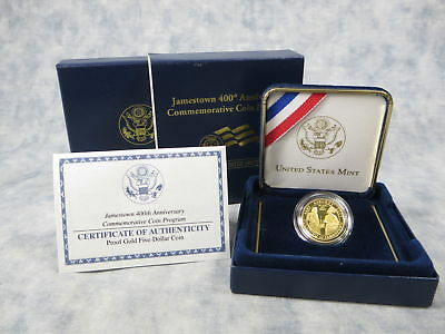 2007-W Jamestown 400th Anniversary 5 Dollar Gold Proof Coin with Box and COA