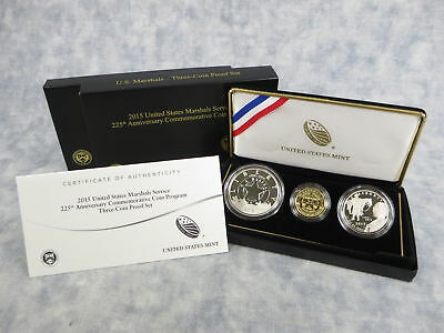 2015 US Marshals Service 225th Anniversary Comm. Gold & Silver 3-Coin Proof Set