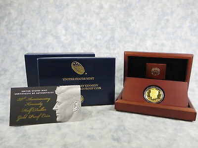 2014-W Kennedy 50th Anniversary 3/4 Ounce Gold Half Dollar Proof Coin Box & COA