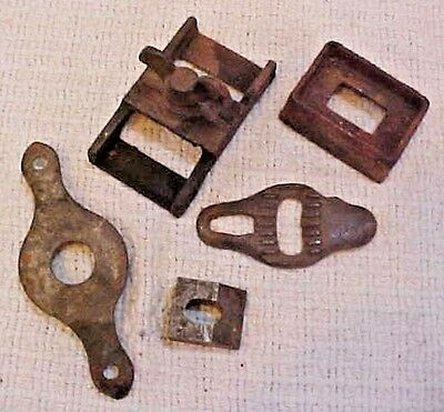 Group of misc antique cast iron latch old cabinet hardware door parts FREE S/H