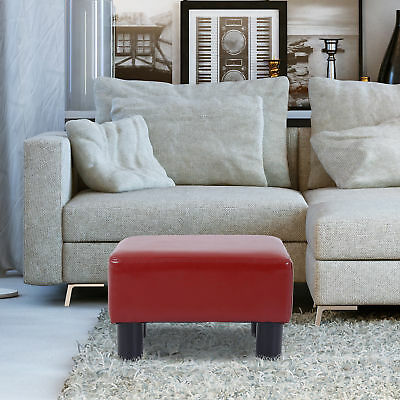HomCom Modern Small PU Leather Ottoman Footrest Sofa Bench Stool Rectangle Red