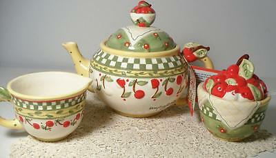 1998 Mary Engelbreit CHERRIES JUBILEE Teapot, Cream & Sugar Set