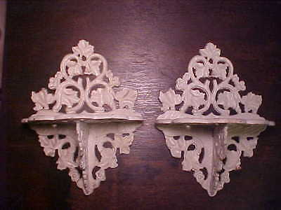 Pair Antique Cast Iron Wall Shelves Branches Leaves Flowers