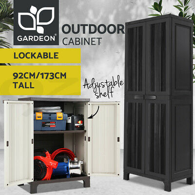Outdoor Home Storage Cabinet Standalone Garden Garage Adjustable Shelf Lockable