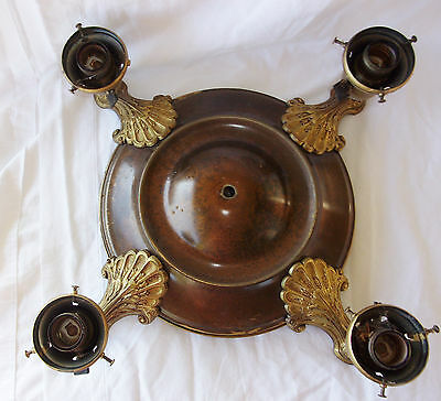 Antique Vintage Cast Metal Ceiling 4 Light Fixture Chandelier Art Deco Ornate