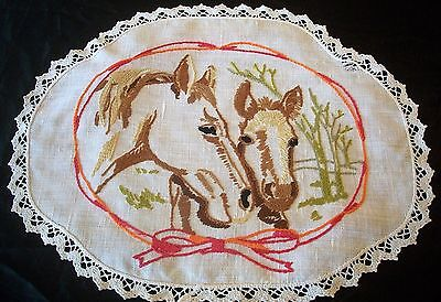 Vintage Linen Centrepiece Doily Embroidered Two Hoses Heads