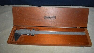 "STARRETT No. 123 - Master Vernier Caliper 14"" .001"" INSIDE/OUTSIDE W/WOOD CASE"