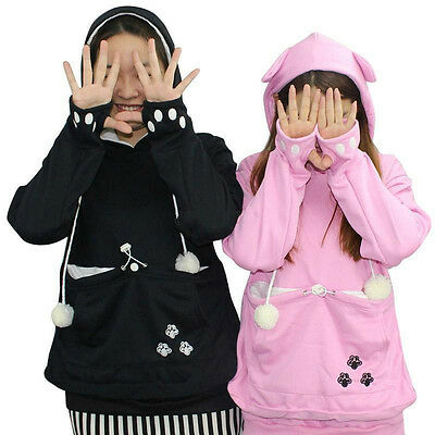 Women Pet Casual Pullover Cat Ear Claw Hoodies Pouch Pocket Sweatshirt Jumper