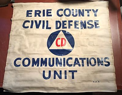 Vintage Erie County Civil Defense Communications Unit AAA Oil Cloth Sign Banner