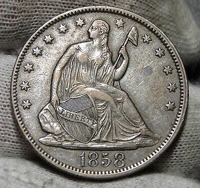 1858 Seated Liberty Half Dollar 50 Cents - Nice Coin, Free Shipping (4911)