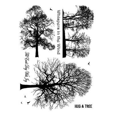Crafty Individuals Rubber Stamps - Winter Trees - Deciduous, Birds