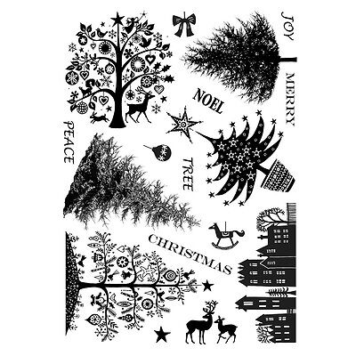 Crafty Individuals Rubber Stamps - Mini Christmas Trees, Reindeer, Town, Baubles