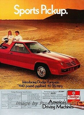 1982 Dodge Rampage and Charger 2-page Advertisement Print Art Car Ad J792